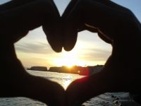 Heart Hands Silhouette at Avila Beach Sunset