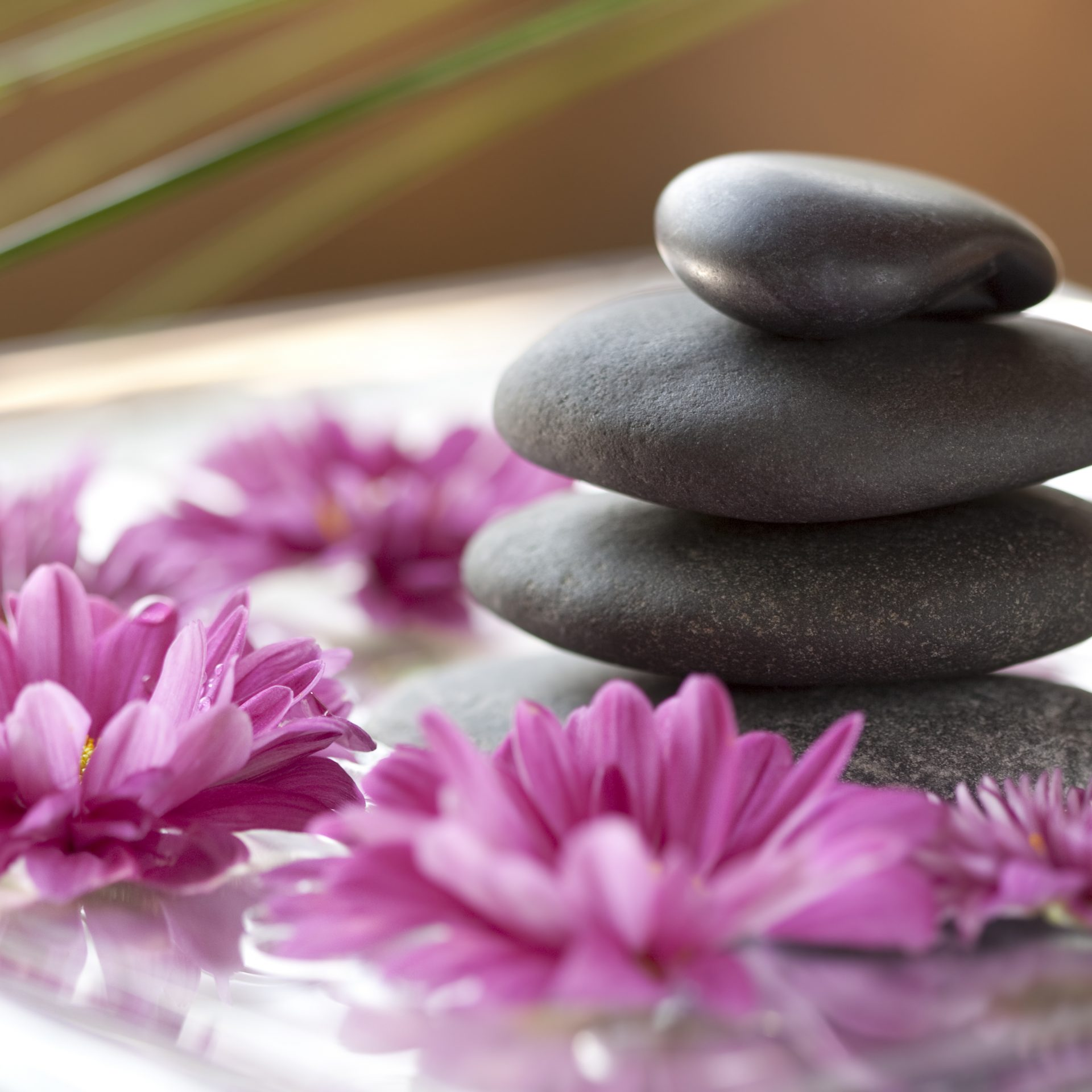 Stacked Spa Rocks and Lotus Flowers