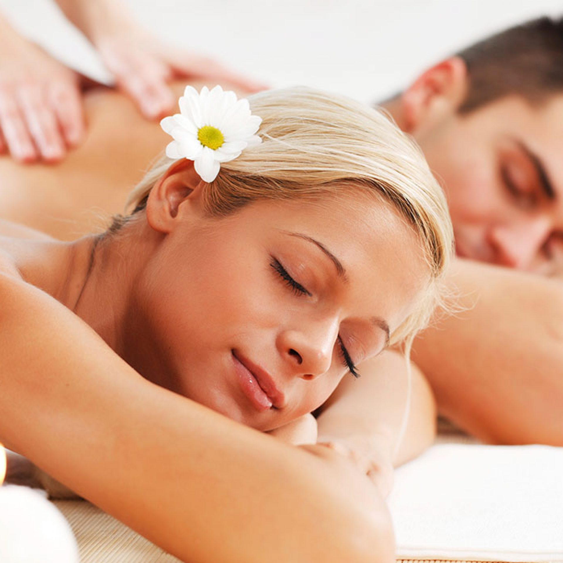 Couple enjoys relaxing massages